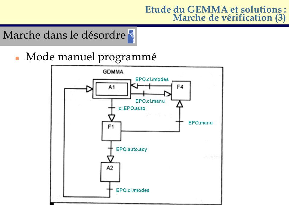 Etude du GEMMA et solutions : Marche de vérification (3)