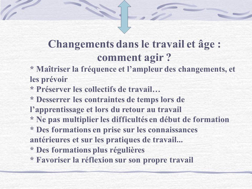 Changements dans le travail et âge : comment agir
