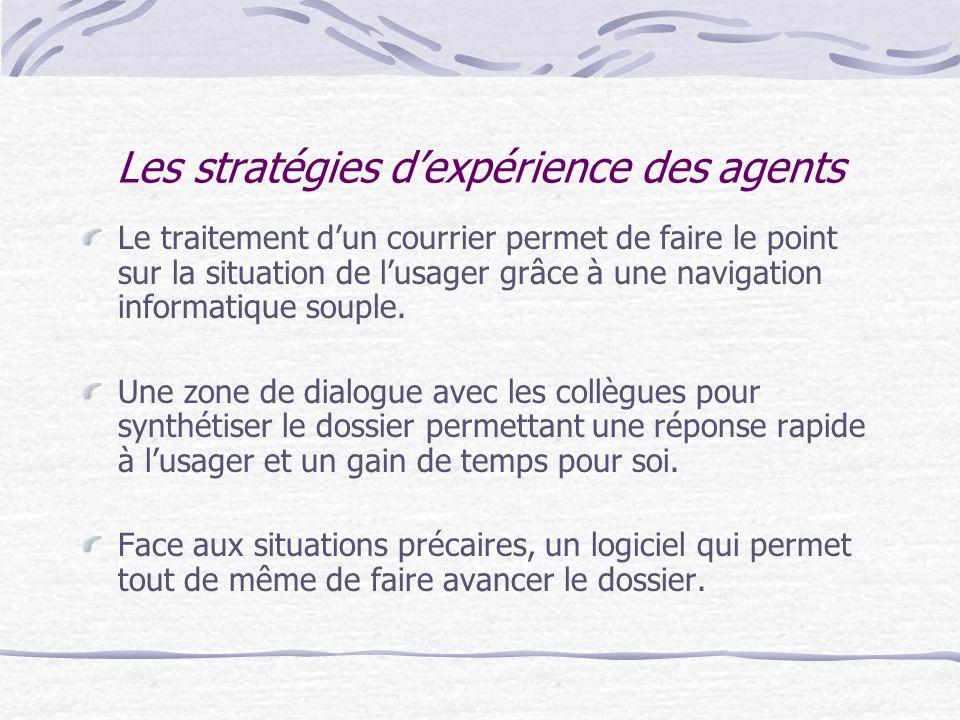 Les stratégies d'expérience des agents