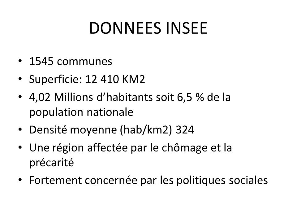 DONNEES INSEE 1545 communes Superficie: 12 410 KM2