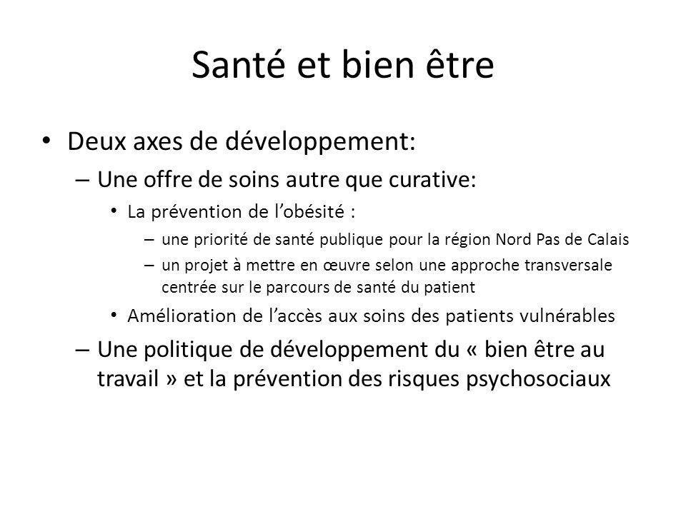 Santé et bien être Deux axes de développement: