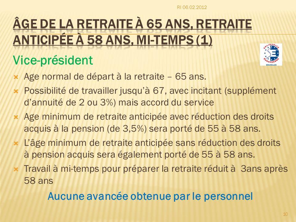 âge de la retraite à 65 ans, retraite anticipée à 58 ans, mi-temps (1)