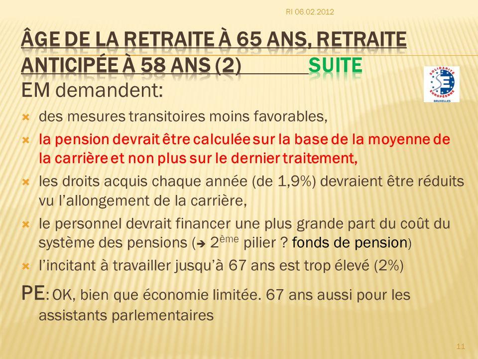âge de la retraite à 65 ans, retraite anticipée à 58 ans (2) Suite