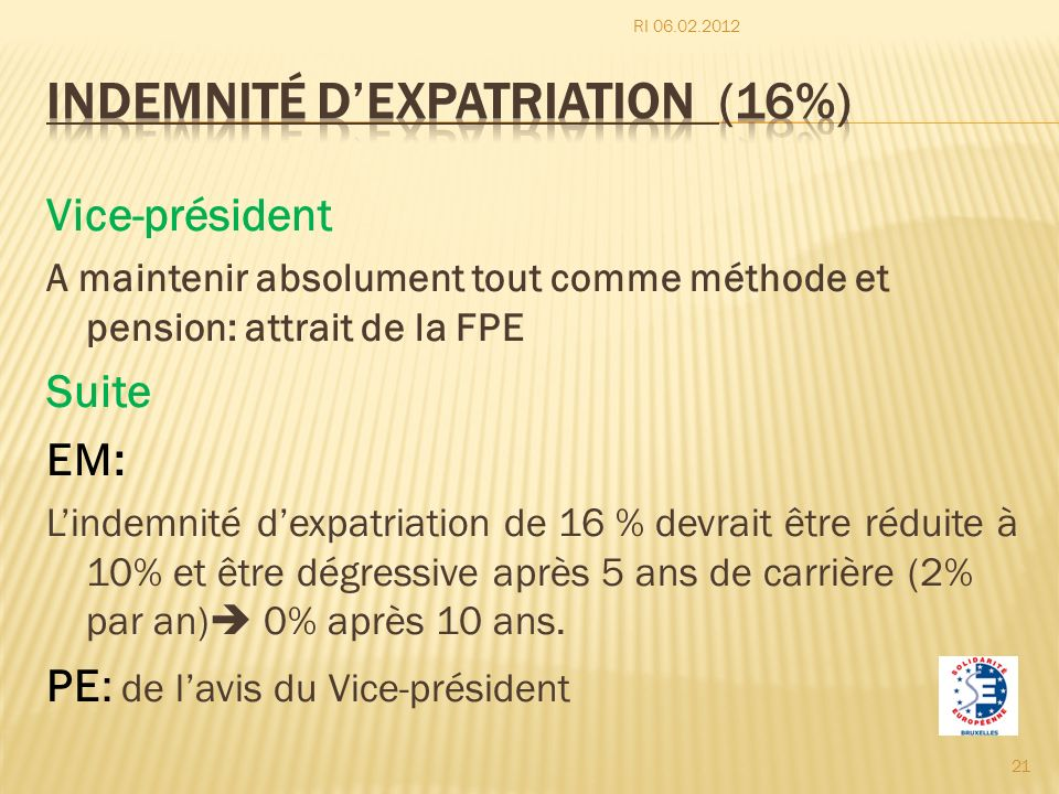 Indemnité d'expatriation (16%)