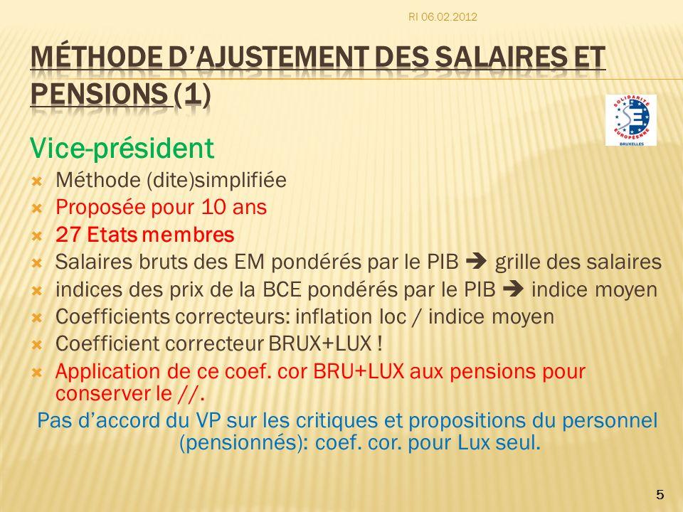Méthode d'ajustement des salaires et pensions (1)