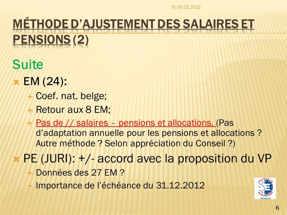 Méthode d'ajustement des salaires et pensions (2)