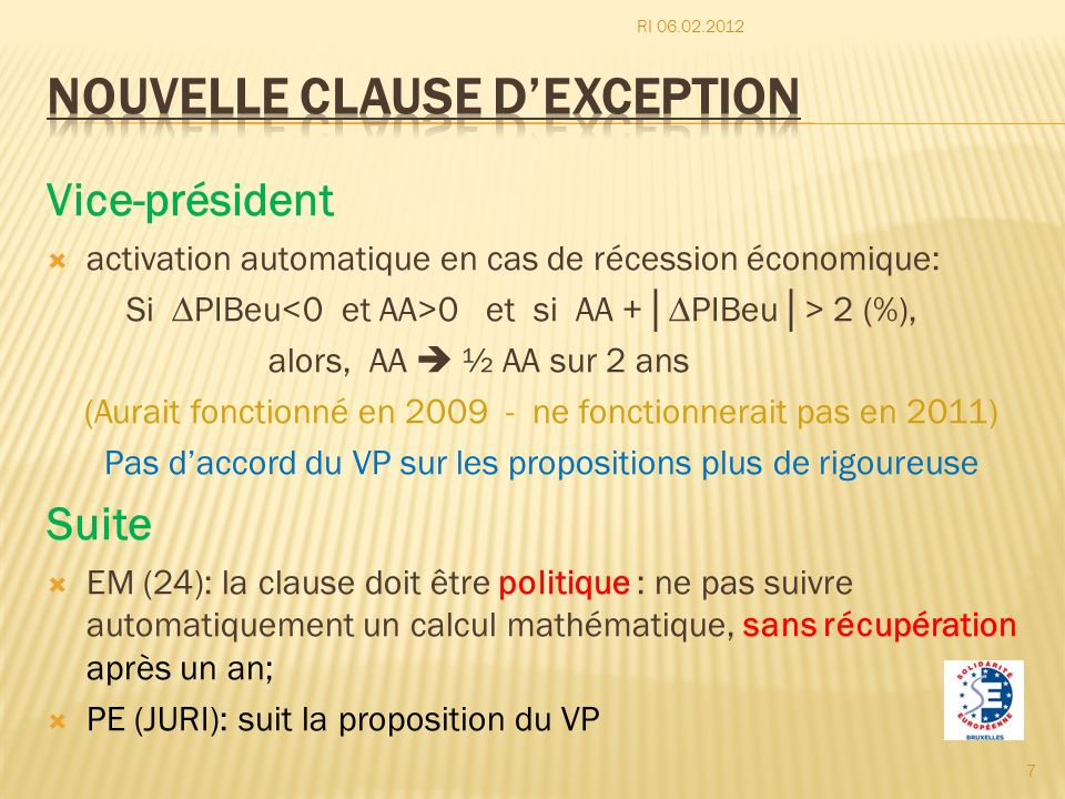 Nouvelle clause d'exception