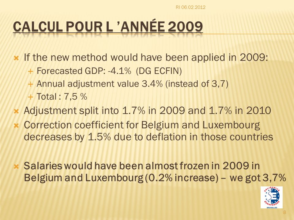 RI 06.02.2012 Calcul pour l 'année 2009. If the new method would have been applied in 2009: Forecasted GDP: -4.1% (DG ECFIN)
