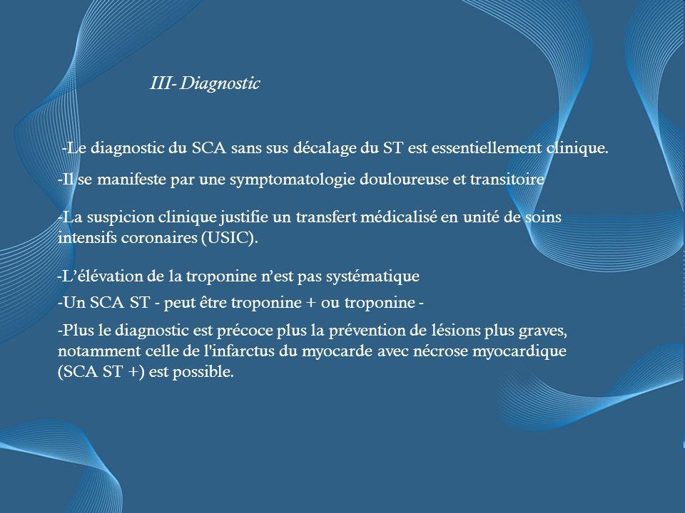 III- Diagnostic -Le diagnostic du SCA sans sus décalage du ST est essentiellement clinique.