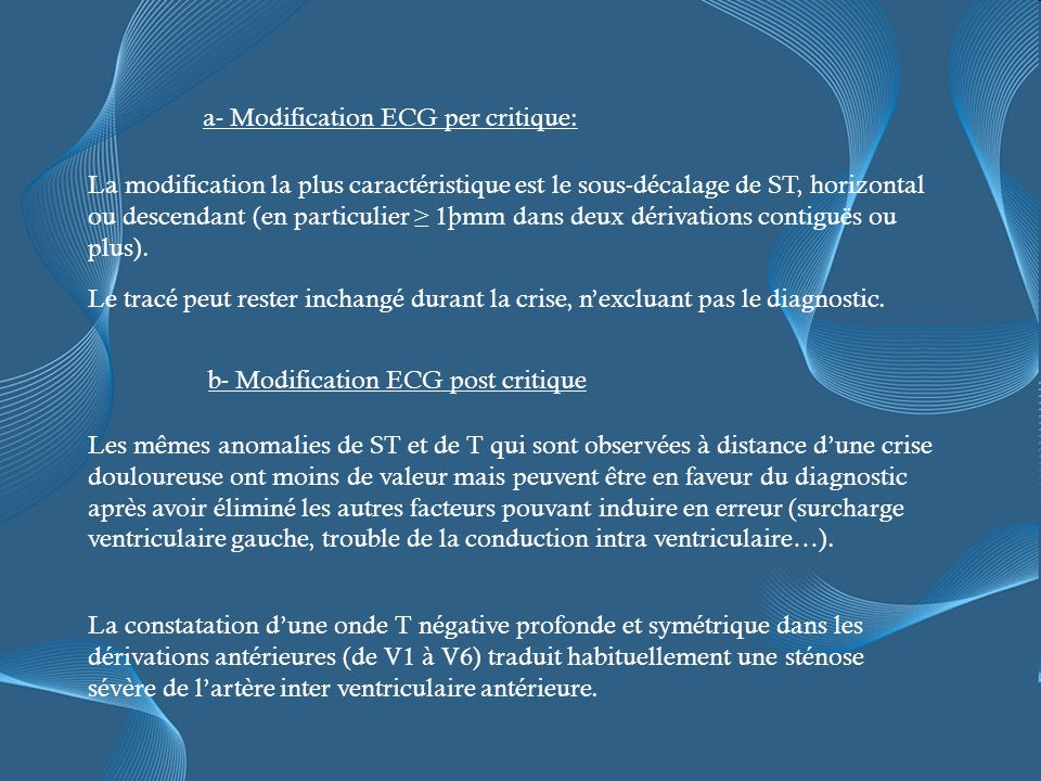 a- Modification ECG per critique: