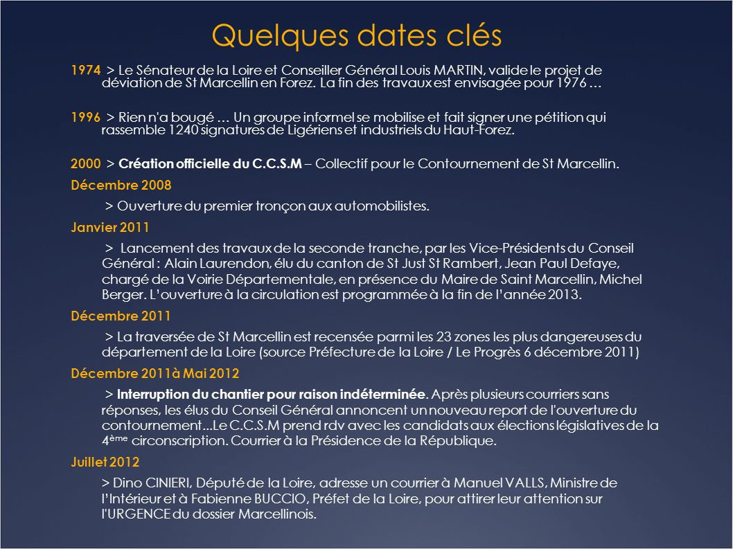 Quelques dates clés