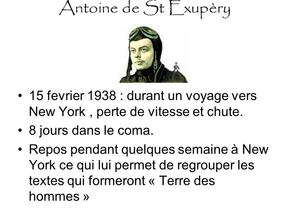 Antoine de St Exupèry 15 fevrier 1938 : durant un voyage vers New York , perte de vitesse et chute.