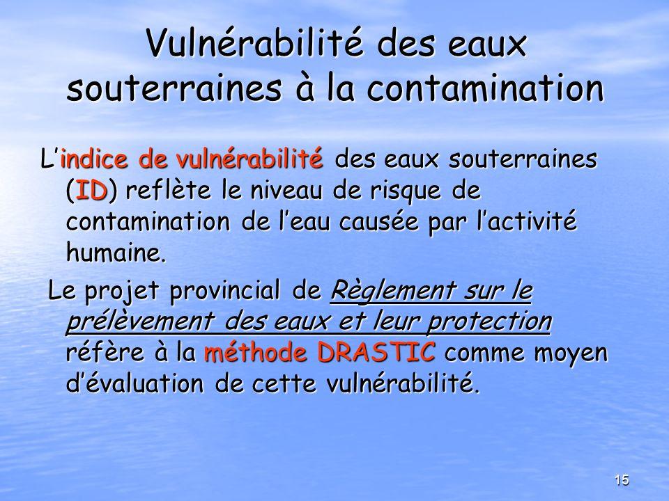 Vulnérabilité des eaux souterraines à la contamination