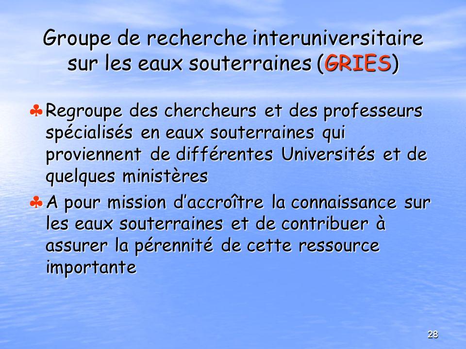 Groupe de recherche interuniversitaire sur les eaux souterraines (GRIES)