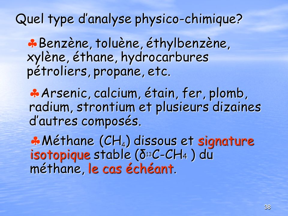 Quel type d'analyse physico-chimique