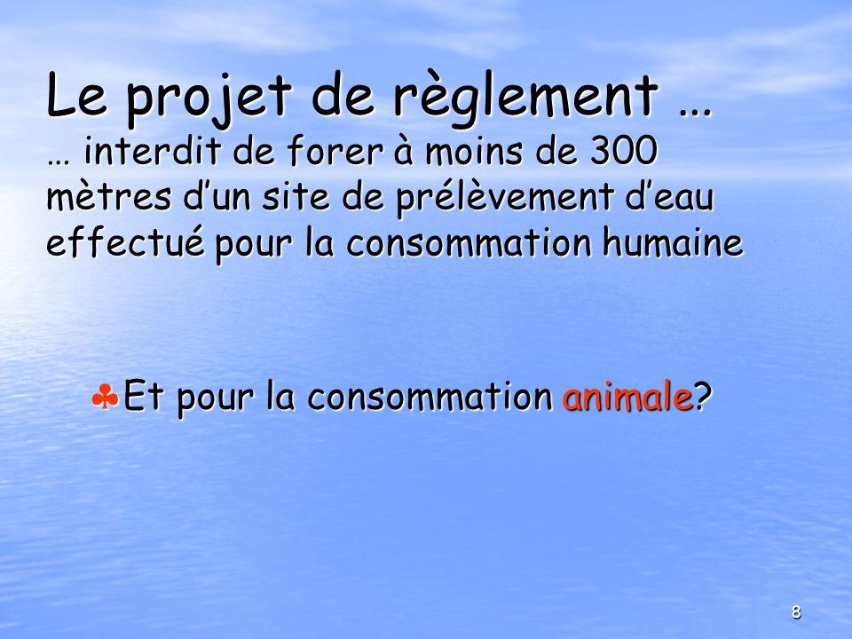 Le projet de règlement … … interdit de forer à moins de 300 mètres d'un site de prélèvement d'eau effectué pour la consommation humaine