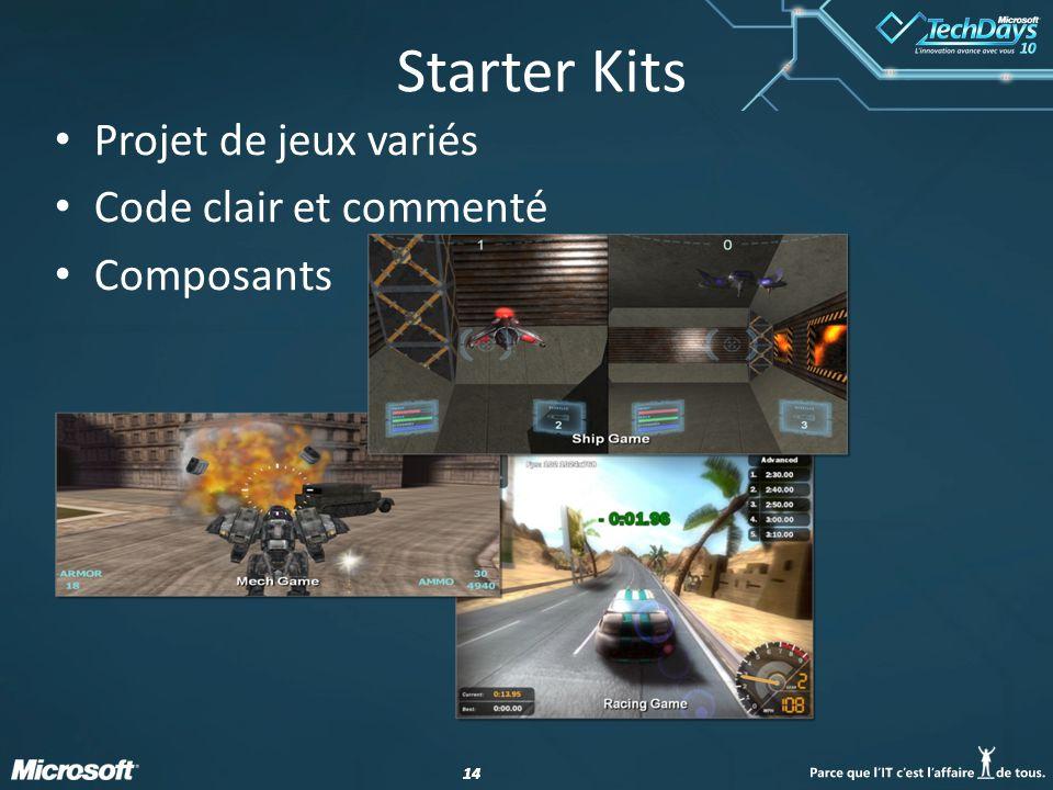 Starter Kits Projet de jeux variés Code clair et commenté Composants