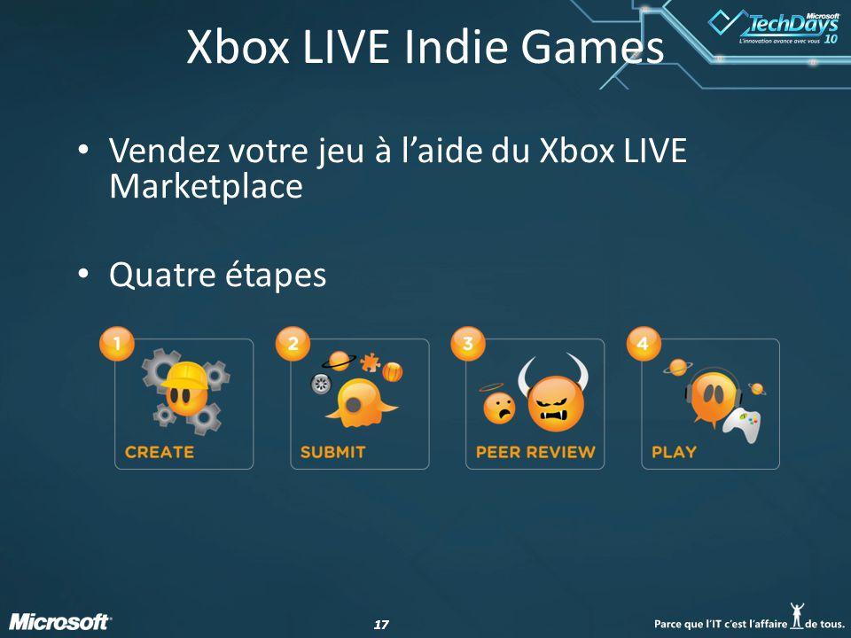 Xbox LIVE Indie Games Vendez votre jeu à l'aide du Xbox LIVE Marketplace Quatre étapes