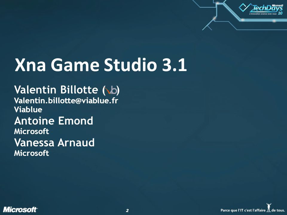 Xna Game Studio 3.1 Valentin Billotte ( ) Antoine Emond Vanessa Arnaud