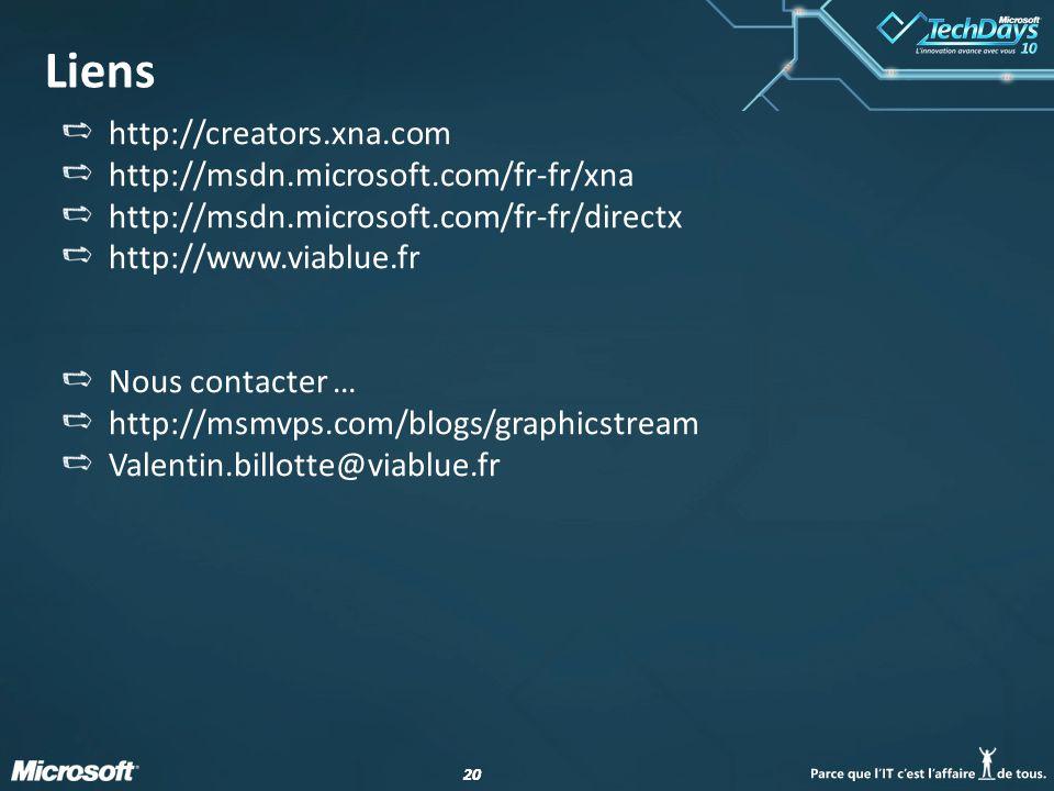 Liens http://creators.xna.com http://msdn.microsoft.com/fr-fr/xna