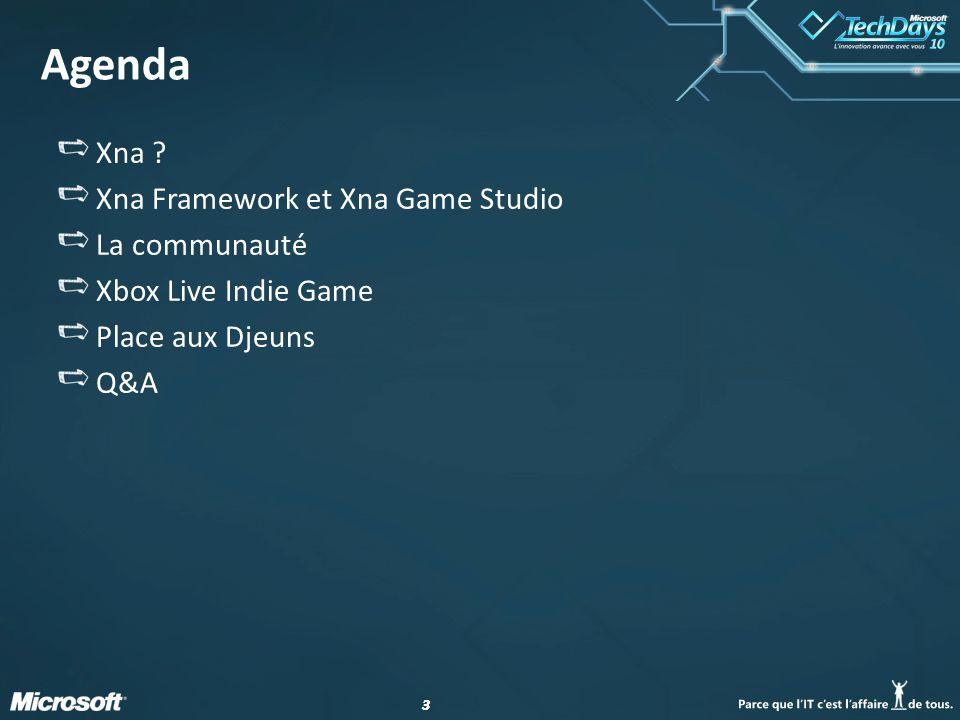 Agenda Xna Xna Framework et Xna Game Studio La communauté