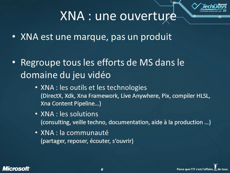 XNA : une ouverture XNA est une marque, pas un produit