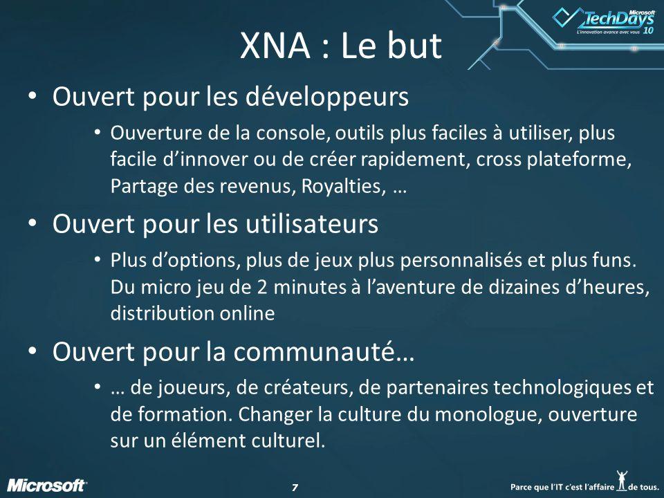 XNA : Le but Ouvert pour les développeurs Ouvert pour les utilisateurs