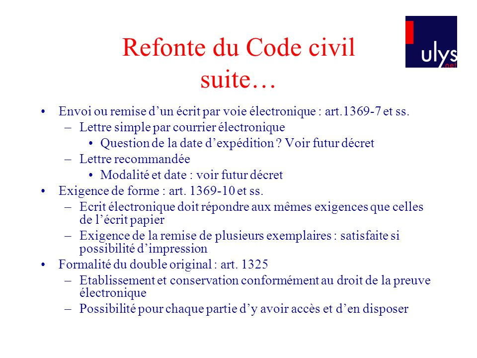 Refonte du Code civil suite…