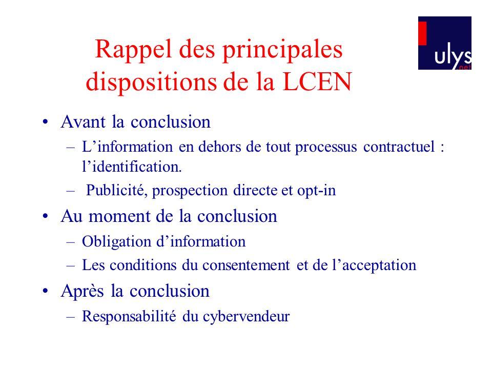 Rappel des principales dispositions de la LCEN