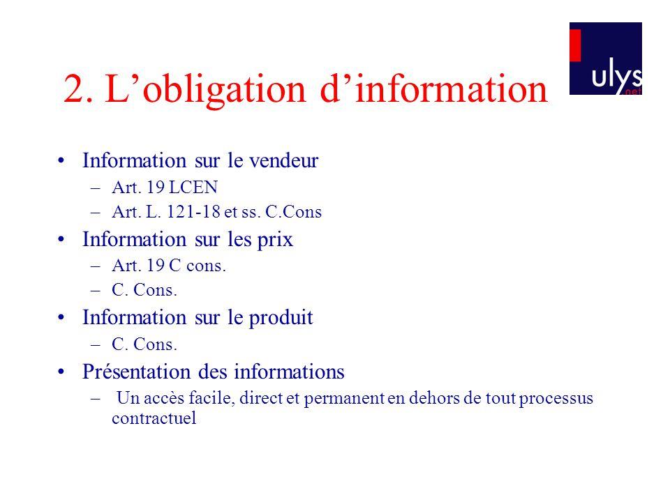 2. L'obligation d'information