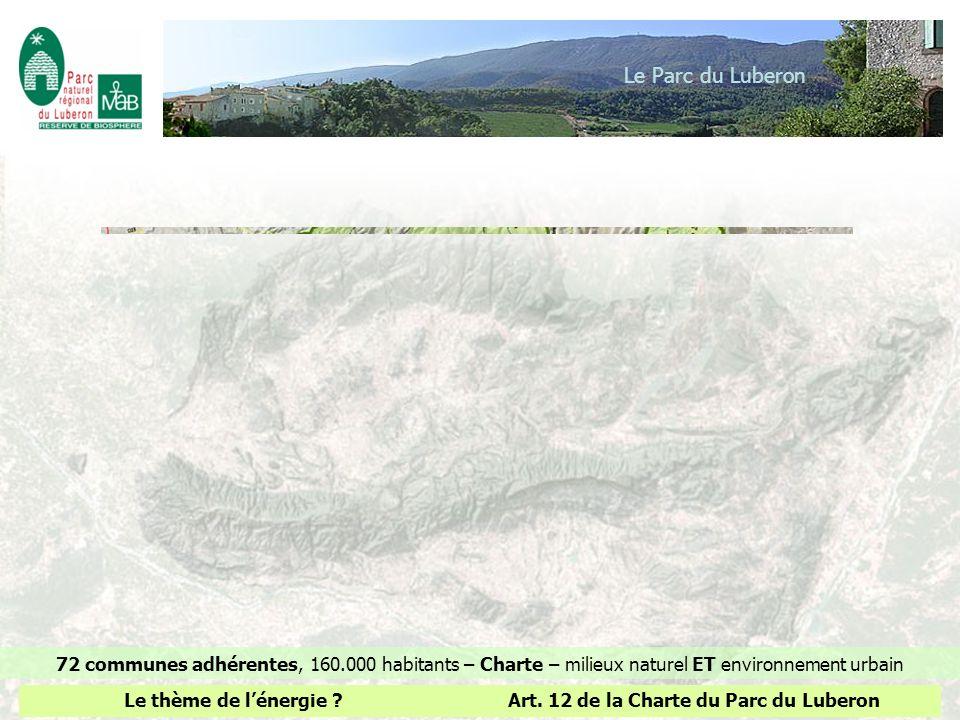 Le Parc du Luberon72 communes adhérentes, 160.000 habitants – Charte – milieux naturel ET environnement urbain.