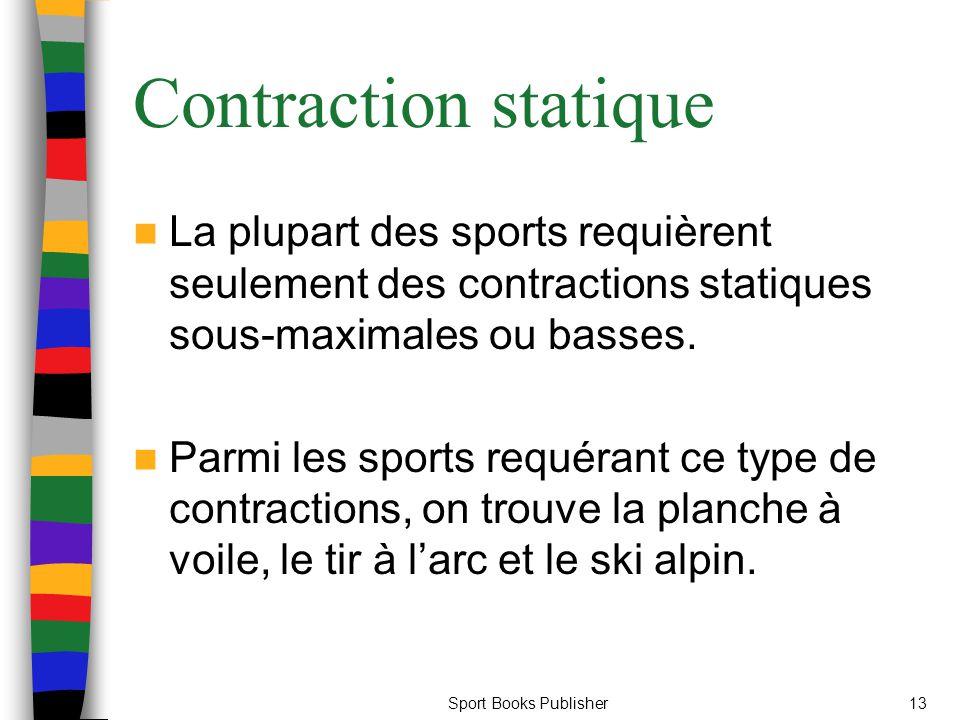 Contraction statique La plupart des sports requièrent seulement des contractions statiques sous-maximales ou basses.