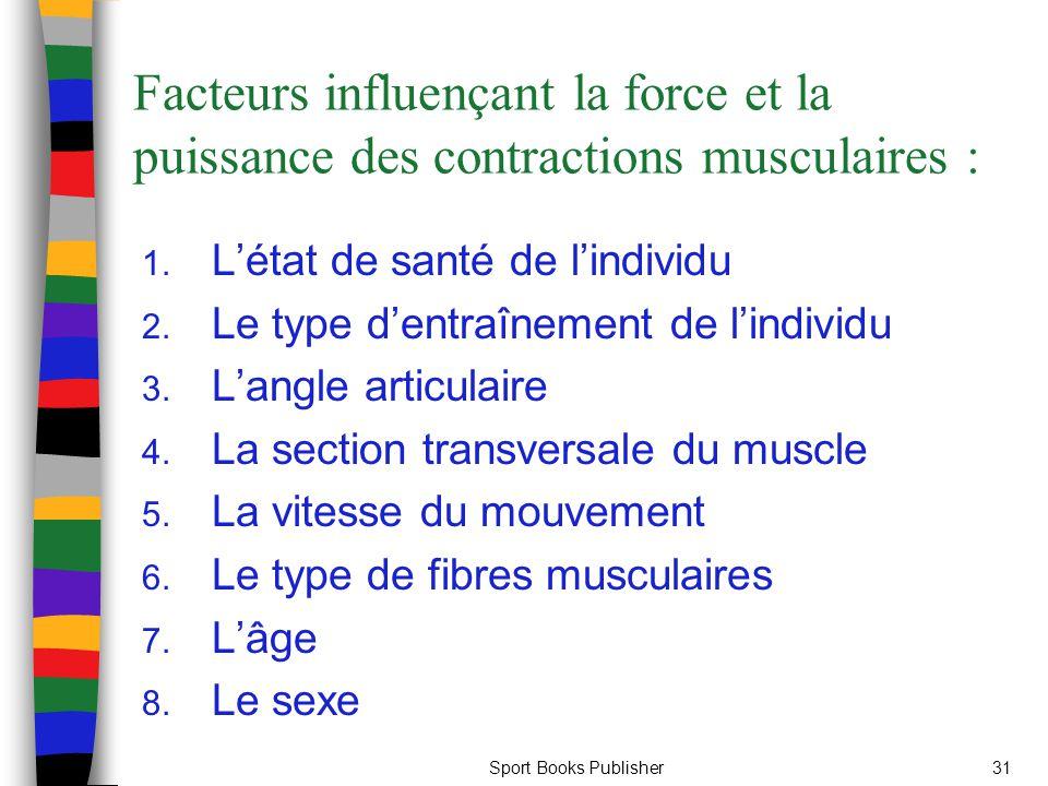 Facteurs influençant la force et la puissance des contractions musculaires :