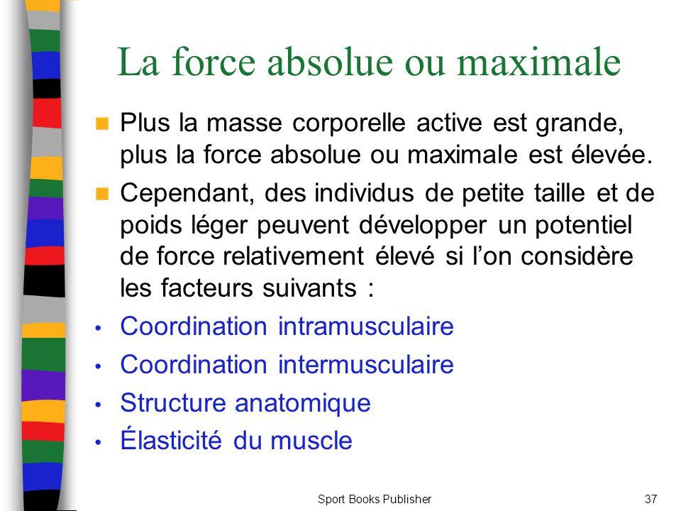 La force absolue ou maximale