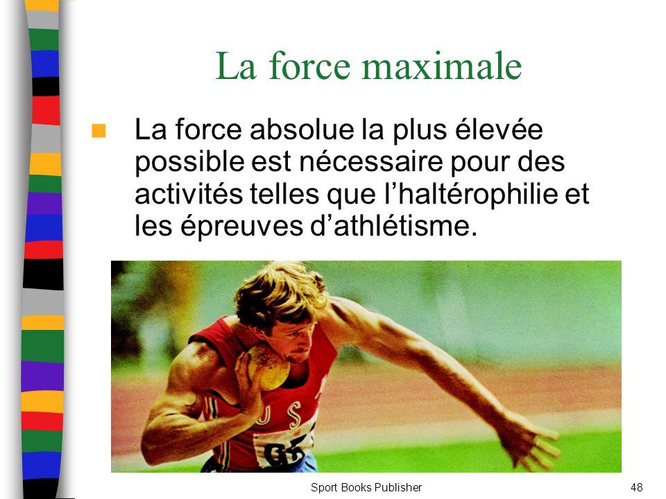 La force maximale La force absolue la plus élevée possible est nécessaire pour des activités telles que l'haltérophilie et les épreuves d'athlétisme.