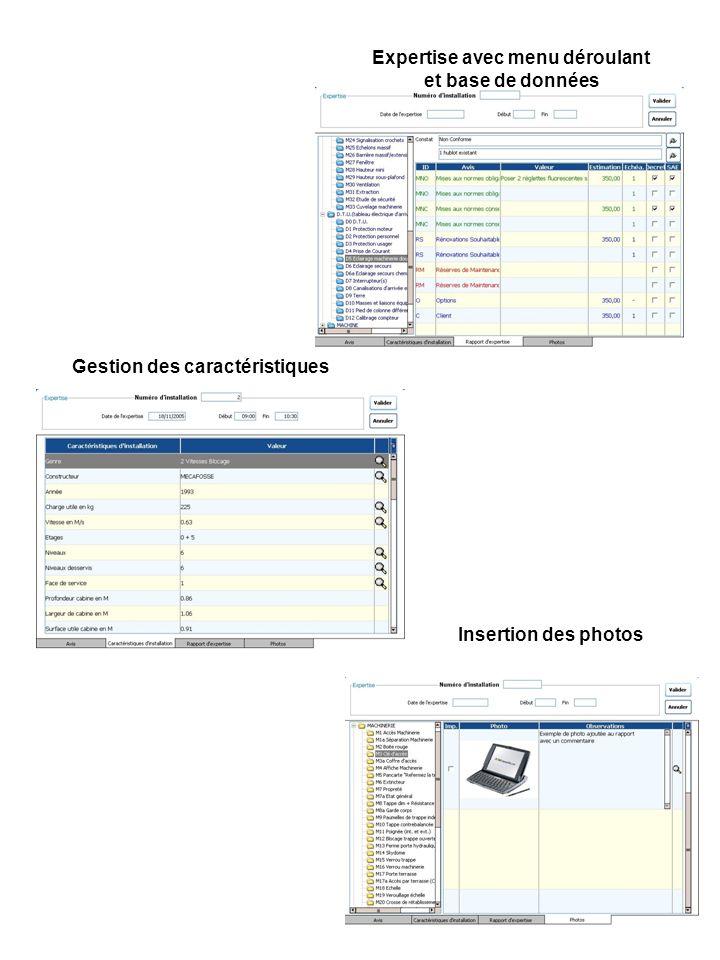 Expertise avec menu déroulant et base de données