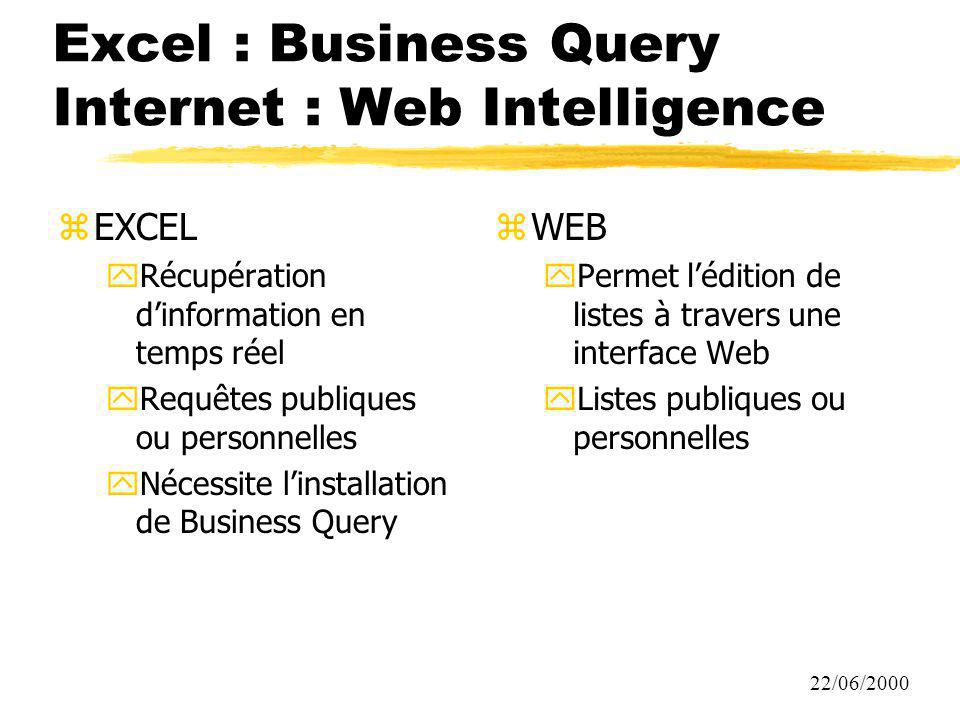 Excel : Business Query Internet : Web Intelligence