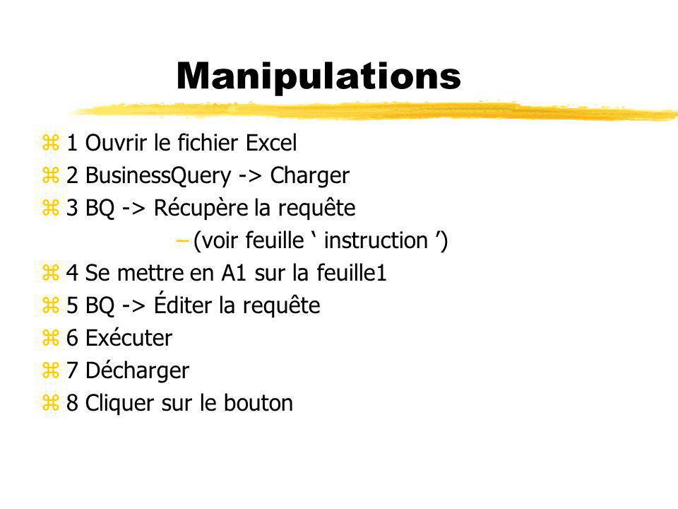 Manipulations 1 Ouvrir le fichier Excel 2 BusinessQuery -> Charger
