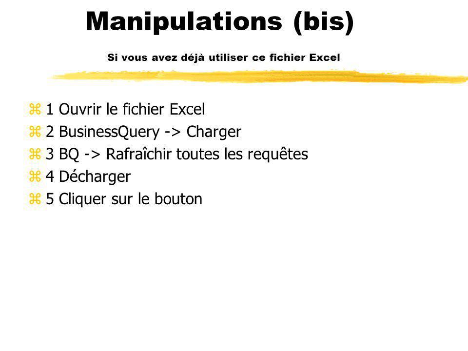 Manipulations (bis) Si vous avez déjà utiliser ce fichier Excel