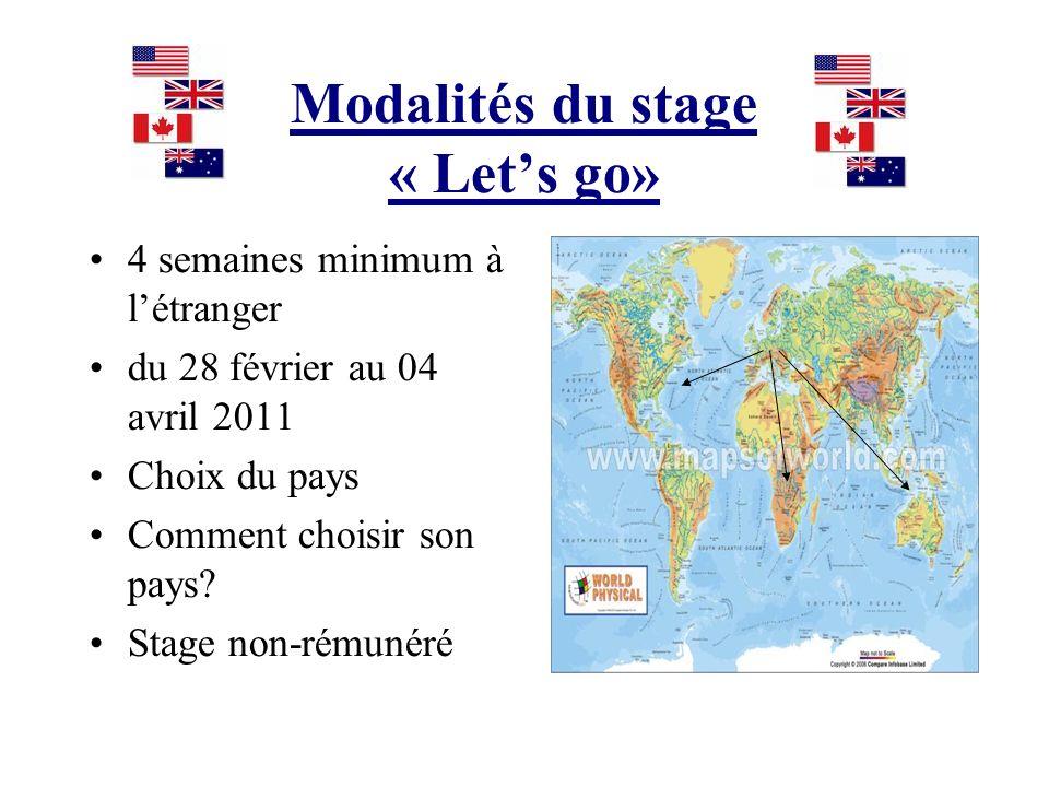 Modalités du stage « Let's go»