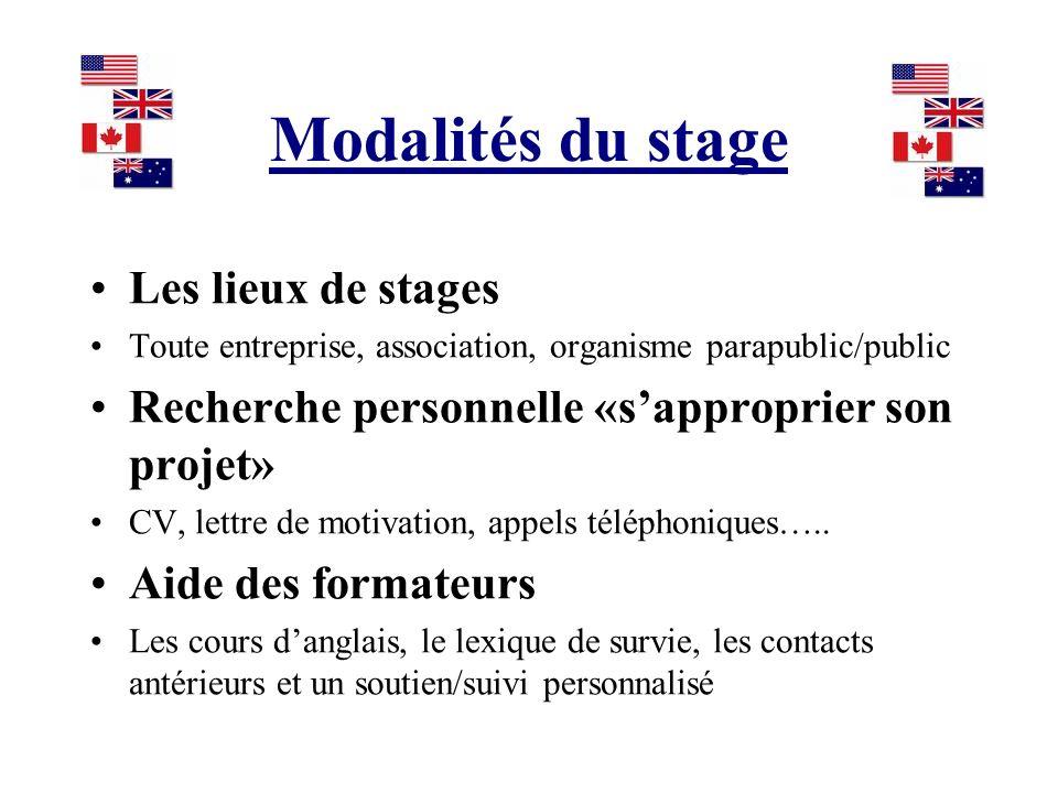 Modalités du stage Les lieux de stages