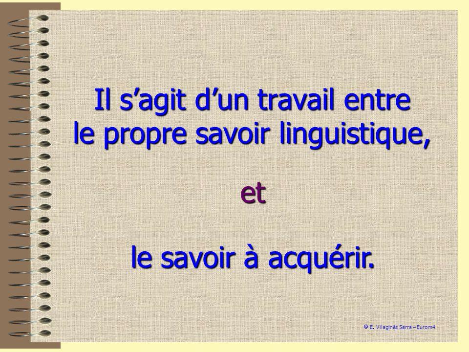 Il s'agit d'un travail entre le propre savoir linguistique,