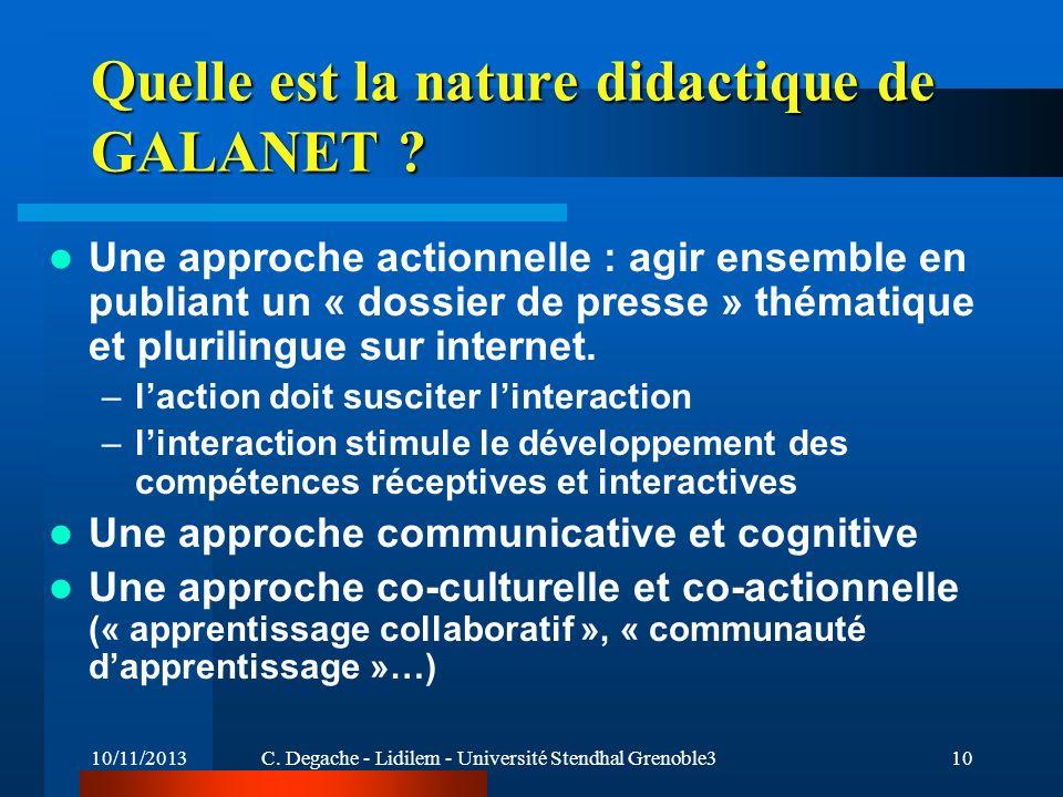 Quelle est la nature didactique de GALANET