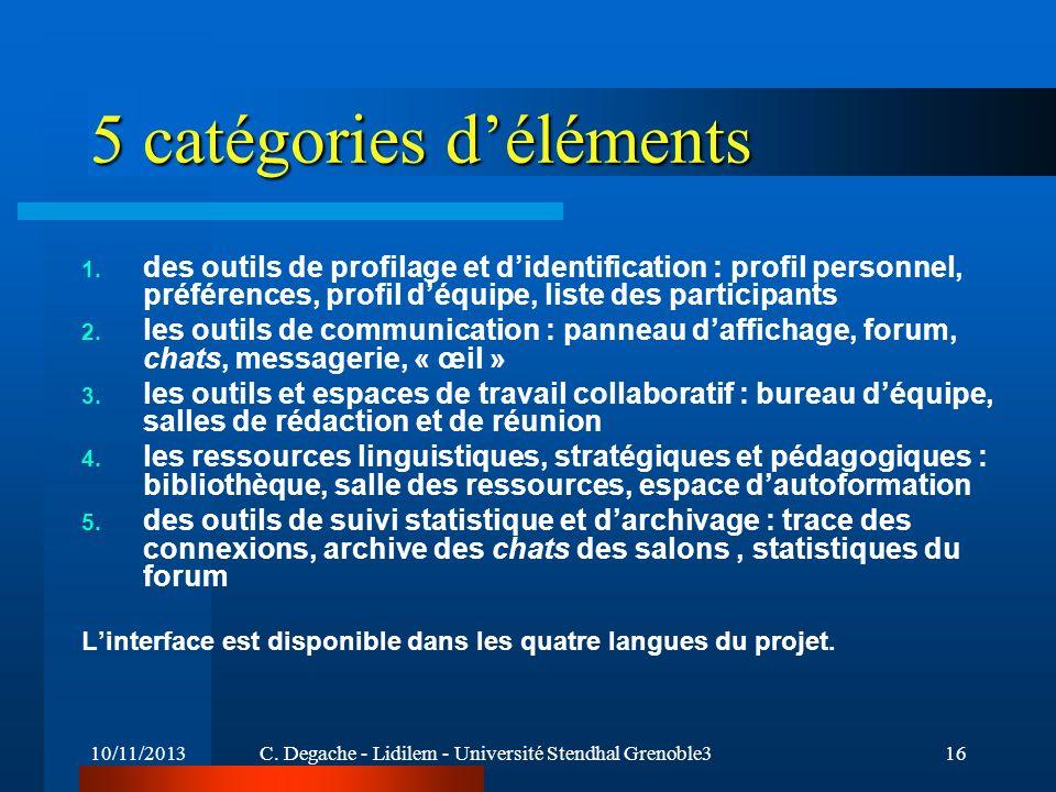 5 catégories d'éléments