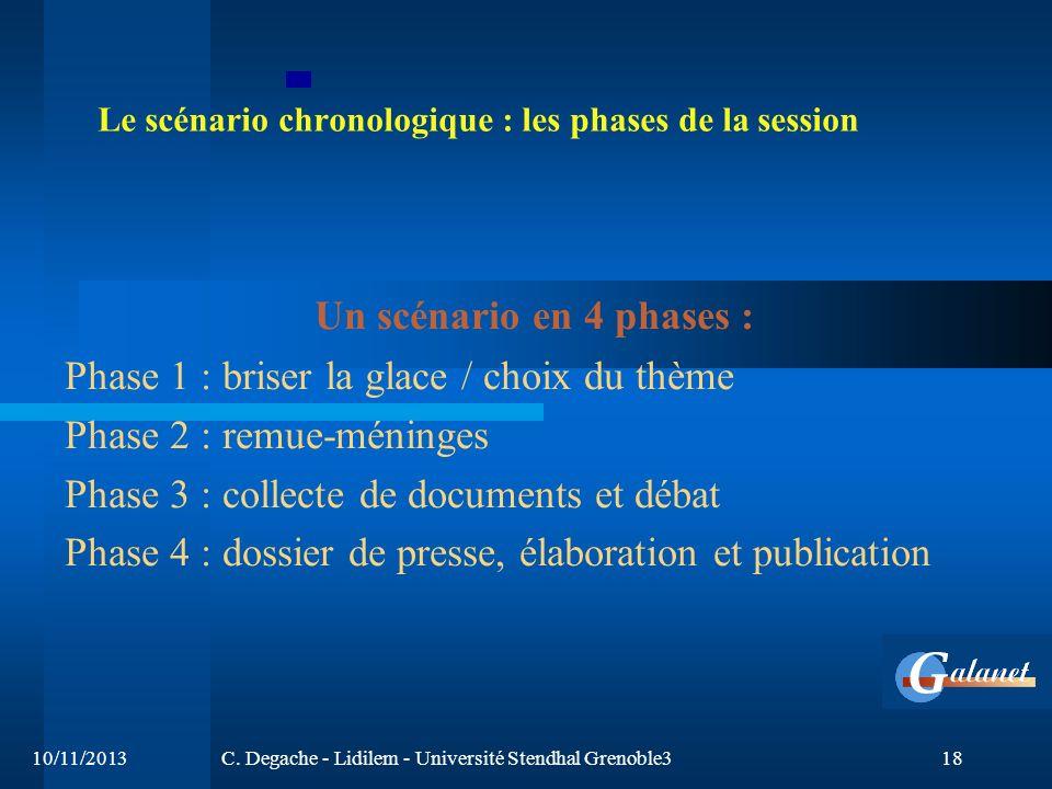 Le scénario chronologique : les phases de la session