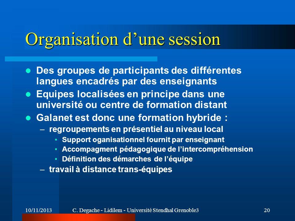Organisation d'une session