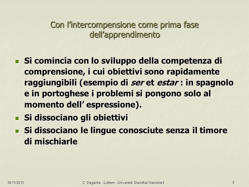 Con l'intercompensione come prima fase dell'apprendimento