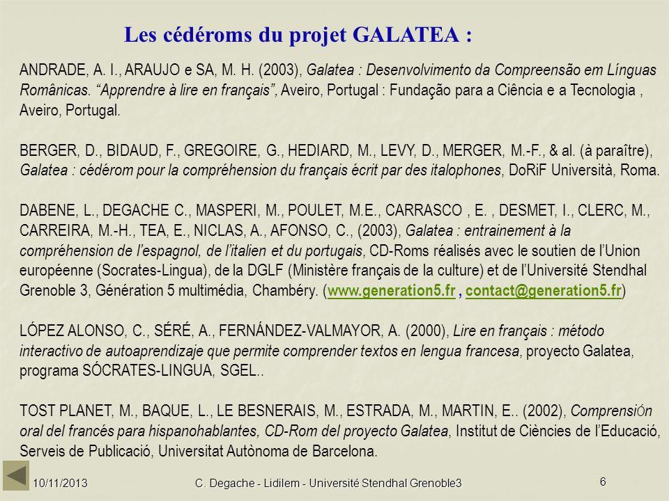 C. Degache - Lidilem - Université Stendhal Grenoble3