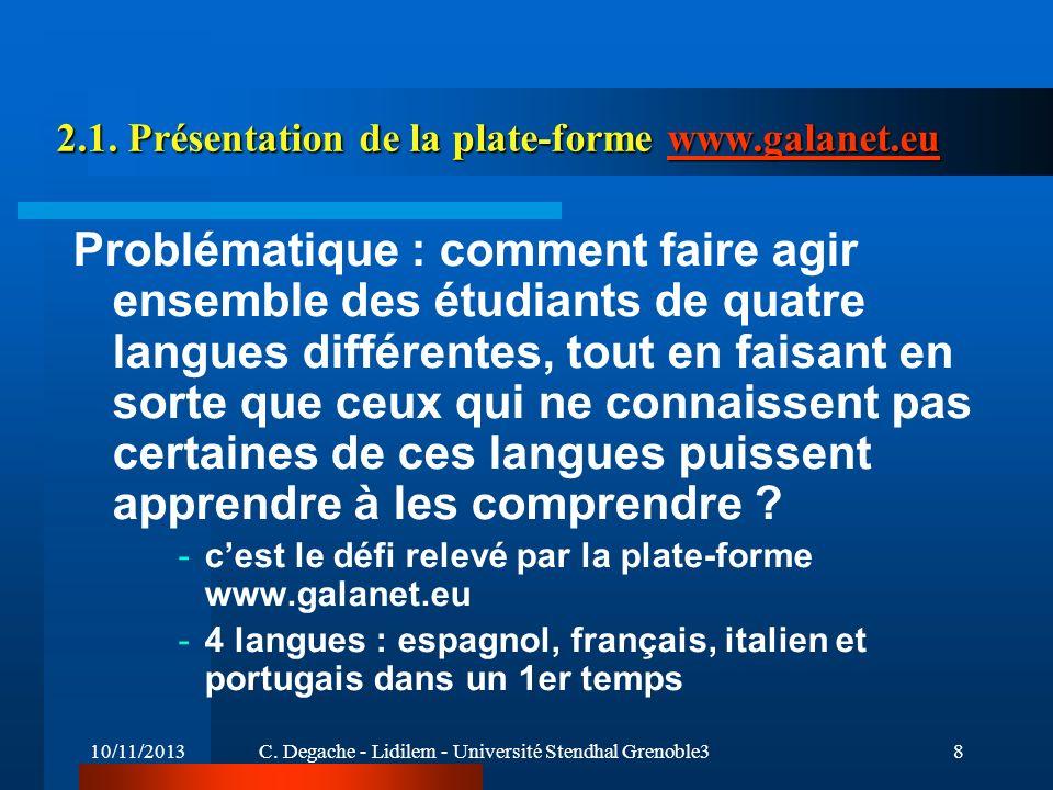 2.1. Présentation de la plate-forme www.galanet.eu