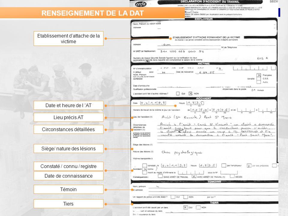 RENSEIGNEMENT DE LA DAT